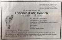 Fritz Henrich Todesanzeige privat