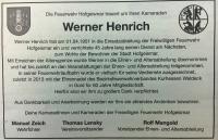 Traueranzeige FF HOG Werner Henrich