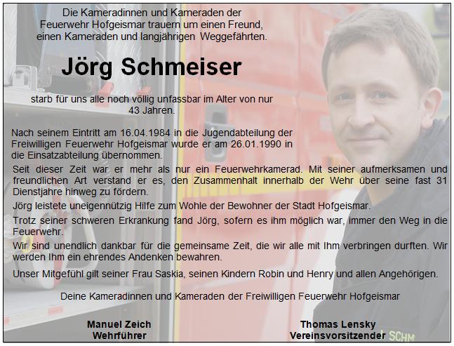 Traueranzeige Jörg Schmeiser
